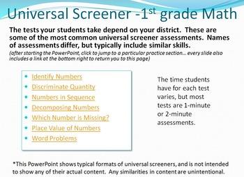 Universal Screener prep - all Kindergarten and 1st grade a