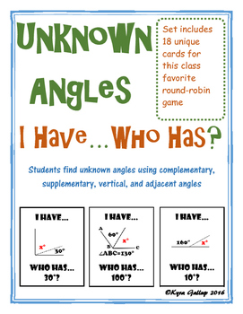 Unknown Angles: I Have, Who Has?
