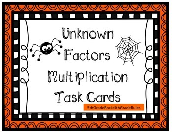 Unknown Factors Multiplication Task Cards
