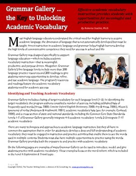 Unlocking Academic Vocabulary with Grammar Gallery