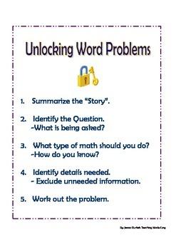 Unlocking Word Problems Printable