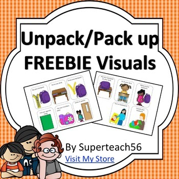 Unpack/ Pack-up Visual Cards for students with Autism