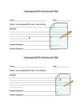 Unprepared/No Homework Slip