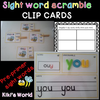 Pre-Primer sight word scramble (clip cards)