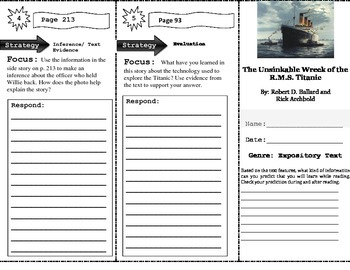 Unsinkable Wreck of the R.M.S. Titanic Close Read Trifold