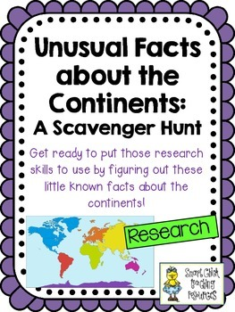 Unusual Facts About the Continents Scavenger Hunt Activity