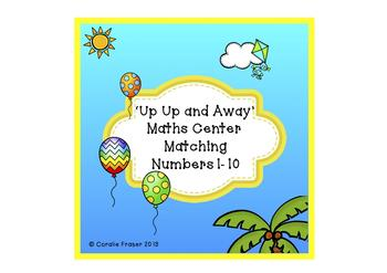 'Up, up and Away' Maths Center Matching Numbers 1-10
