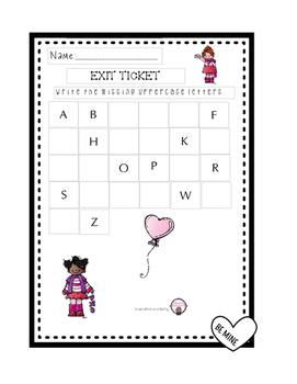 Upper Case Letter Writing Exit Ticket