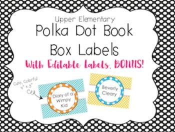 Upper Elementary Book Box Labels (Polka Dot) Editable Vers