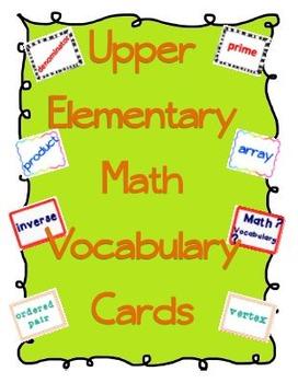 Upper Elementary Math Vocabulary Cards & Activities