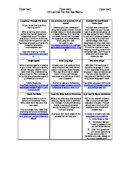 Upper Elementary/Middle Grades Holiday Tic Tac Toe
