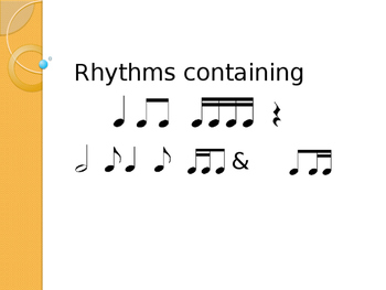 Rhythm patterns ta, ti-ti, tikatika, rest, too, syn-CO-pa,