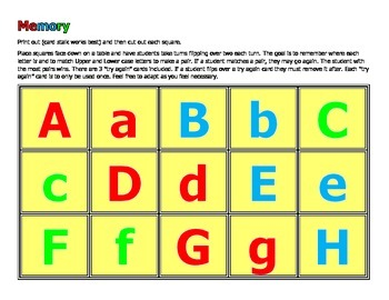 Upper and Lower Case Memory Game