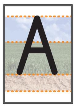 Uppercase A-Z A6 sized flashcards sky/grass/ground
