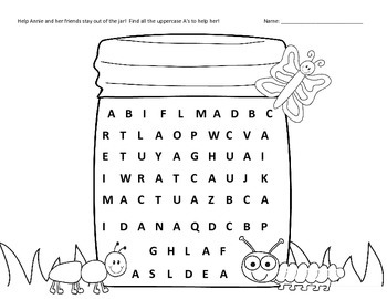 Uppercase A-Z letter search printable worksheets