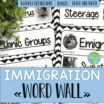 Urbanization and Immigration Word Wall without definitions