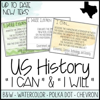 "High School US History TEKS  - ""I Can"" Statements / ""I Wil"