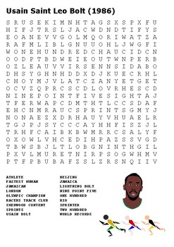 Usain Bolt Word Search