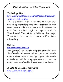 Useful Links for FSL Teachers