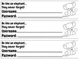 Username & Password Bookmark - baby elephant