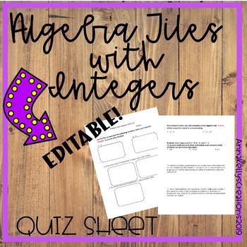 Using Algebra Tiles to represent integers Quiz