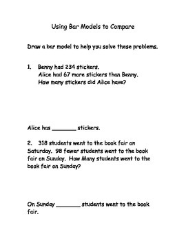 Using Bar Models to Compare Worksheet