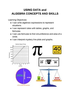 Using Data and Algebra Math Menu