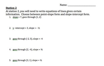 Using Linear Equations to Graph and Writing Equations of L