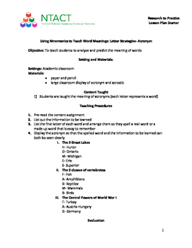 Using Mnemonics to Teach Word Meanings: Letter Strategies-