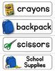 Using My School Supplies...Readiness & Assessment Activities