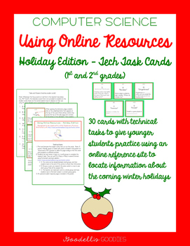 1st & 2nd: Online Resources Task Cards - Holiday Edition (
