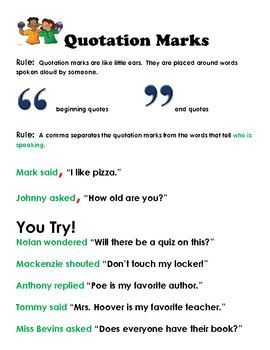 Using Quotation Marks Worksheets   Punctuation Activities