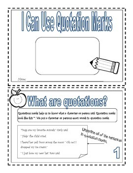 Using Quotation Marks Mini-book. ( Writers workshop)