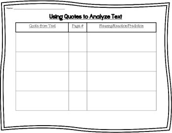 Using Quotes to Analyze Text