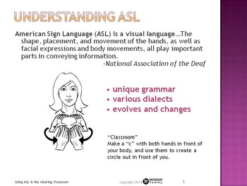 Using Sign Language in the Hearing Classroom: Powerpoint &