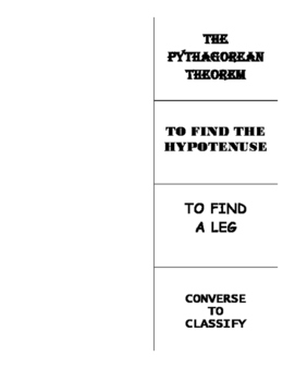 Using The Pythagorean Theorem and Converse Graphic Organizer