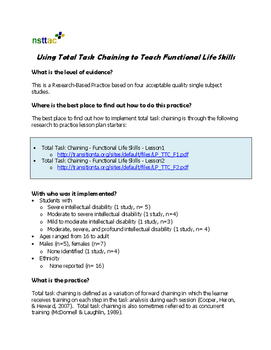Using Total Task Chaining to Teach Functional Life Skills