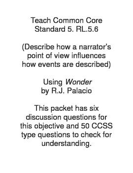 Using Wonder to teach CCSS 5.RL.5.6