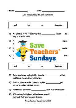 Using conjunctions Worksheets (2 levels of difficulty)