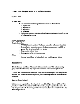 Using the Jigsaw Model WW I Diplomatic Advisors