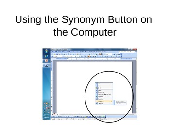 Using the Synonym Button on the Computer
