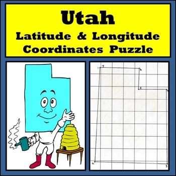 Utah State Latitude and Longitude Coordinates Puzzle - 7 P