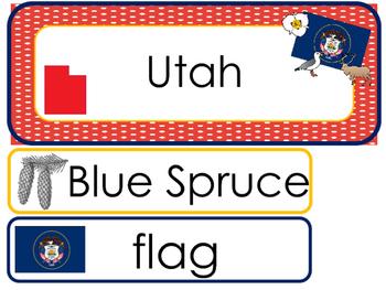 Utah State Word Wall Bulletin Board Set. Geography Curriculum.