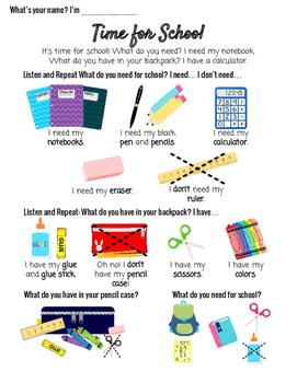 V5 ESL Conversation Vocabulary Lesson School Supplies