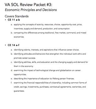 VA Civics & Economics SOL Review Packet #3: Economic Princ