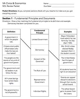 VA Civics and Economics SOL Review Packet