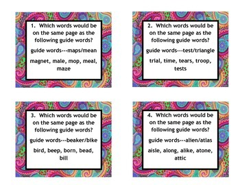 VA SOL 3rd, 4th, 5th Guide Word Task Cards with Strategy a