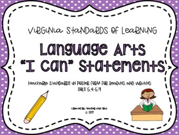 "VA Language Arts SOL ""I Can"" Statements"