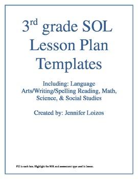 VA SOL Lesson Plan Templates