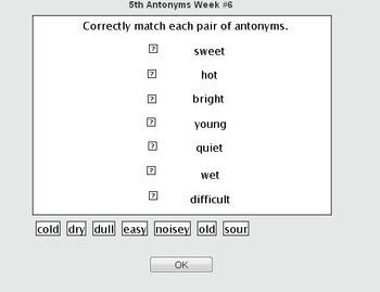 VA SOL TEI Anytonyms Matching Online Self Checking Quiz 3r